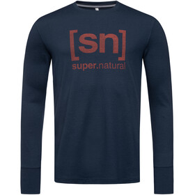 super.natural Alpine Jersey manga larga Hombre, blue iris/red dhalia logo
